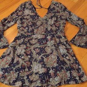 MNG suit collection Navy/paisley VNeck zipper back